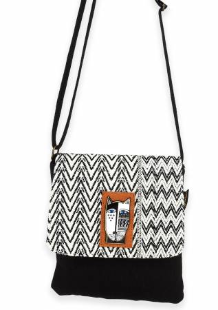 Flap Crossbody with Adjustable Strap Wild Cat Black & White
