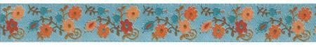 5/8 Ribbon Orange / Turquoise Mini Suzani Floral 27yd