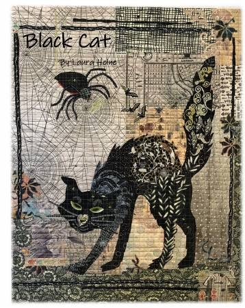 Black Cat Collage Quilt Pattern By Laura Heine of Fiberworks
