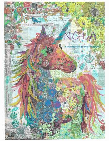 Nola the Unicorn - Collage Pattern by Laura Heine