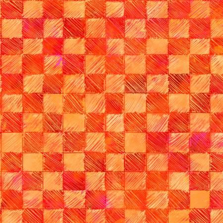 Orange Checks Digitally Printed