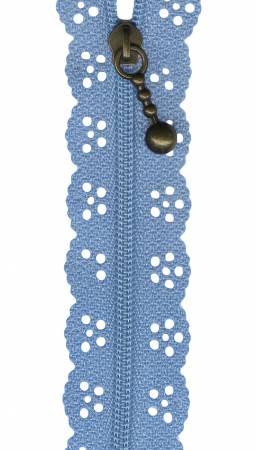 8in Lace Zipper Dusty Blue