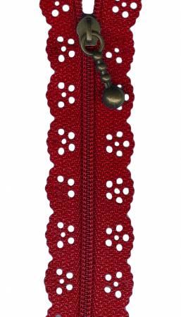 8in Lace Zipper Fire Engine Red