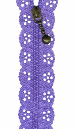 8in Lace Zipper Lilac by Sue Daley