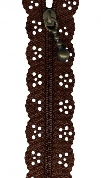 10in Lace Zipper Brown
