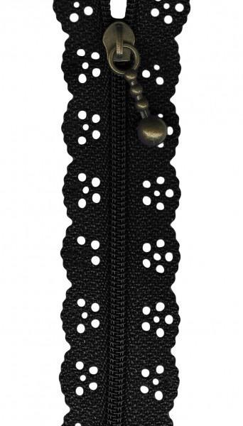 12in Lace Zipper Black