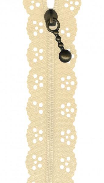 12in Lace Zipper Cream