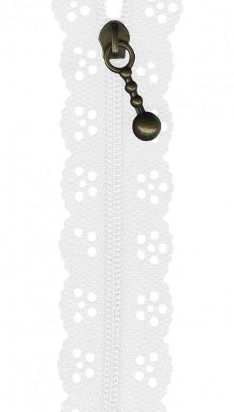 12in Lace Zipper White