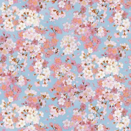 Geiko Blue Packed Floral w/Metallic