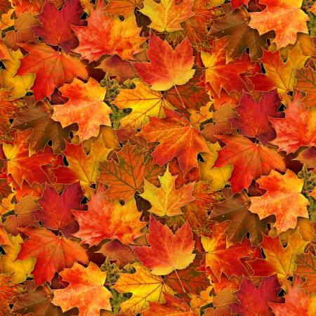 Fabric-Eliz Stu Multi Leaves w/Metallic