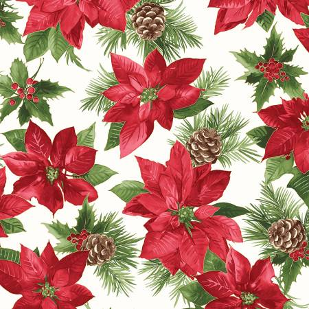 FAB Soft White/Red Poinsettia w/Metallic