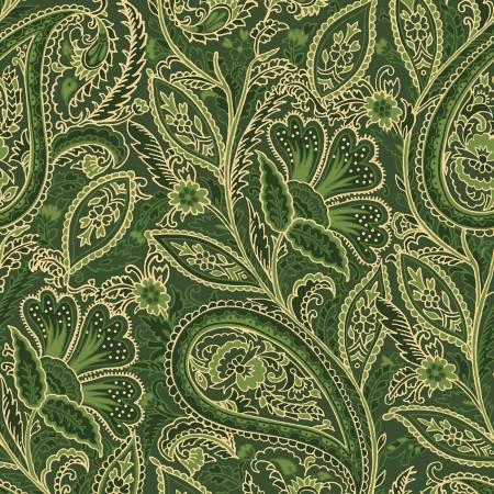 FAB Green Elegant Paisley w/Metallic