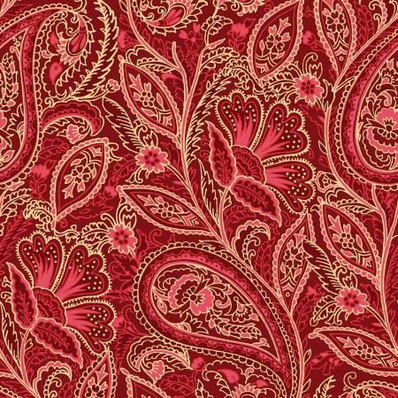 FAB Red Elegant Paisley w/Metallic