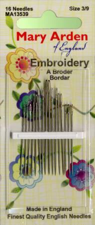 Mary Arden Embroidery / Crewel Needles Sz 3/9 16ct