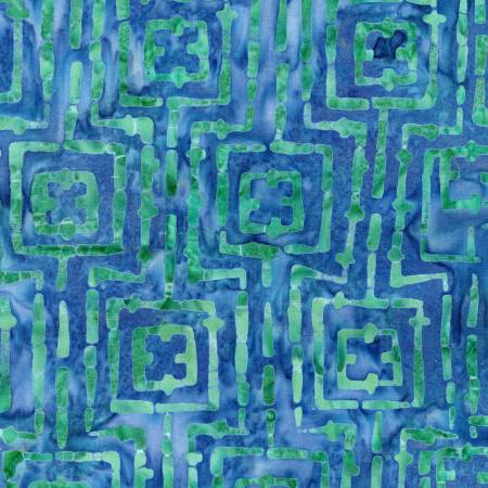Bejeweled Blue/Green Stitched Squares Batik