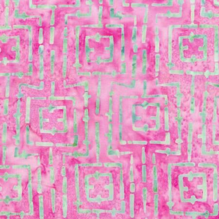 Bejeweled Pink/Teal Stitched Squares Batik