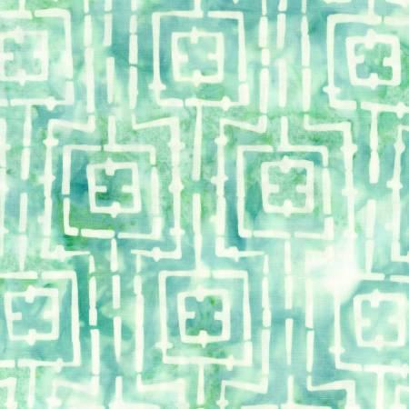 Bejewled Teal Stitched Squares Batik