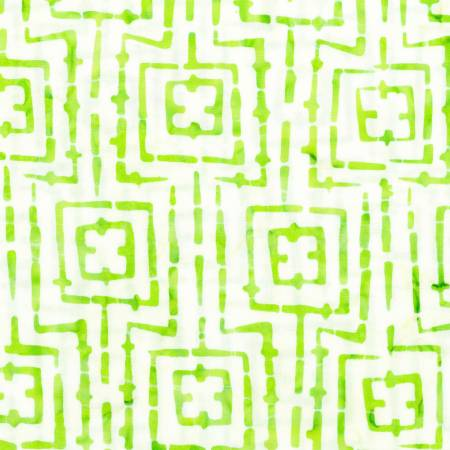 Bejeweled Batiks White with Lime Squares
