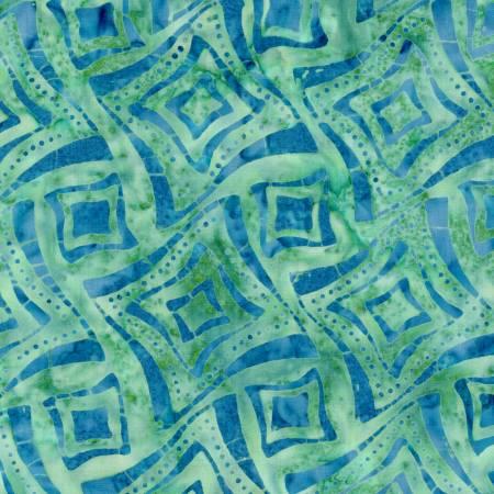 Bejeweled Teal/Blue Wonky Squares Batik