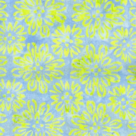Bejeweled Batik Blue with Lime Mum Flowers