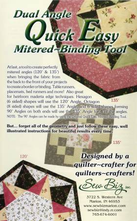 Dual Angle Quick Easy Mitered Binding Tool