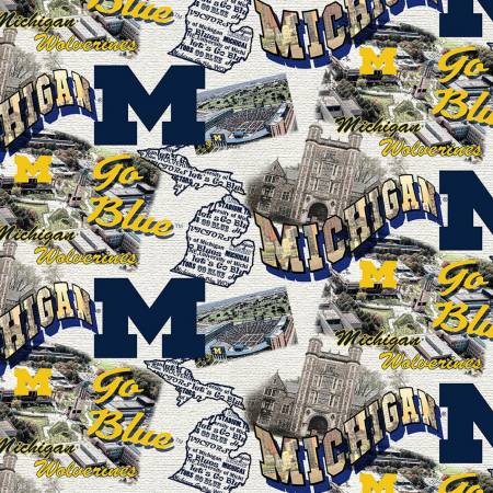 NCAA-Michigan Wolverines Scenic Map Cotton MCHG 1212