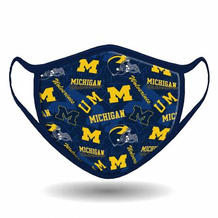 Ncaa-Michigan Cotton Face Mask, 24 per pack
