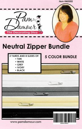 Neurtral 5 colors, 3 yards each of Reversible Coil Zipper Tape with 8 Slides