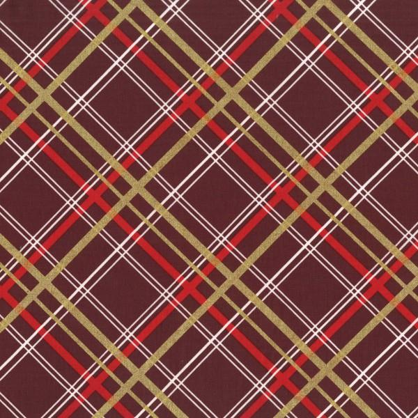 Red, Burgundy, White and Metallic Gold Plaid:   Bow Tie Plaid - Christmas on Brambleberry Ridge by Violet Craft for Michael Miller Fabrics