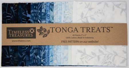 Tonga Treat Mini Batik Blue Moon 5 inch squares (20 pieces) - Timeless Treasures Fabric