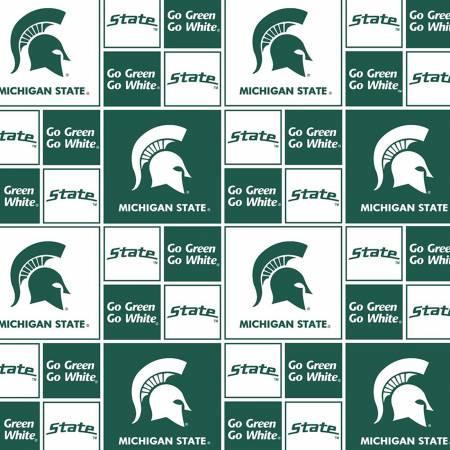 Fabric Michigan State Green/White Collage