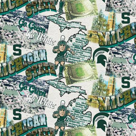 NCAA-Michigan State Spartans Scenic Map Cotton MIST 1212