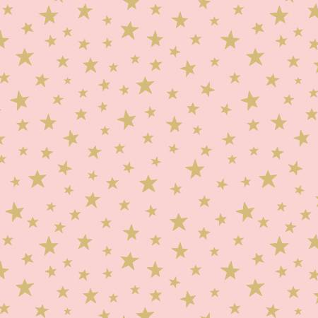 Gold Star on Pink Cotton