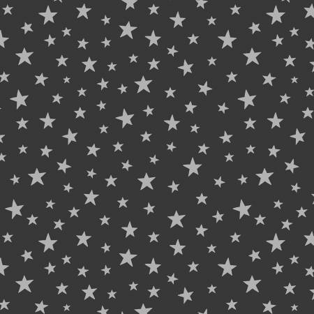 Silver Star on Black Cotton
