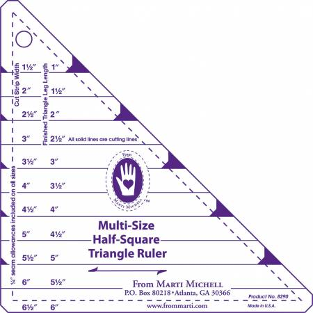 Multi-Size Half Square Ruler, 1in to 6in Finished