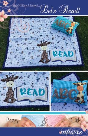 Lets Read Childs Pillow and Blanket Pattern with Giraffe Applique