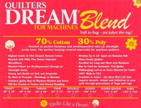 Quilters Dream Blend 70/30 Select Mid-Loft) 120 King size roll (sold by the yard 120 x 36)