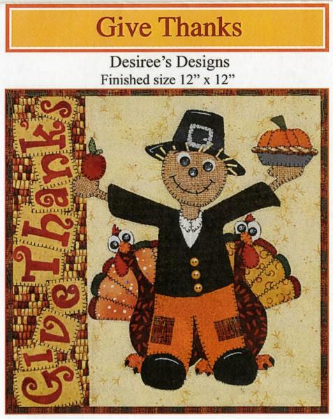 Give Thanks Scarecrow Pattern, 12 x 12 designed by Desiree's Designs