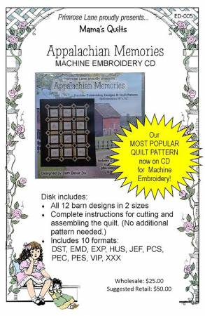Appalachian Memories Machine Embroidery CD