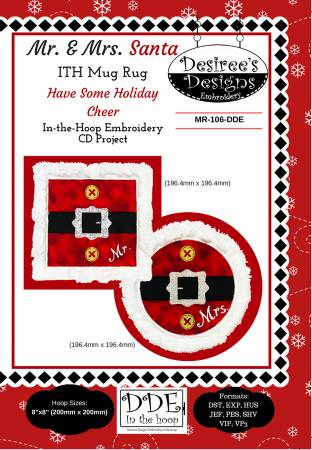 Mr and Mrs Santa Embroidery CD