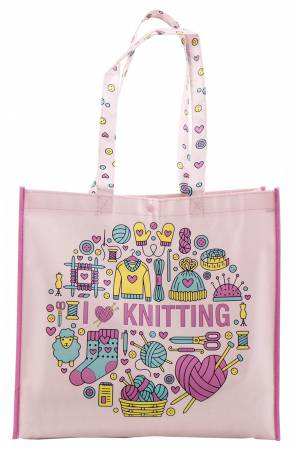 Pink I Love Knitting Multi-Purpose Tote