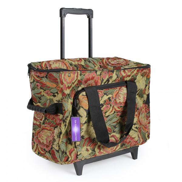Trolley Bag Hemline Burgundy Floral Sewing Machine
