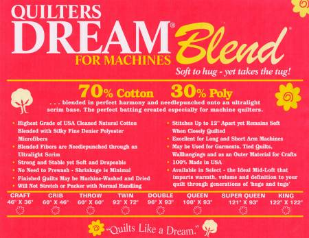 Quilters Dream Blend Throw 70/30 Natural 60X60 BATTING