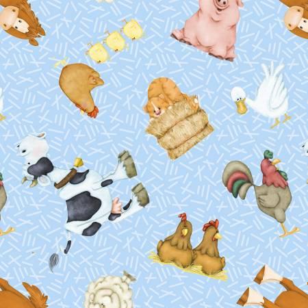 Blue Farm Animals Comfy Flannel
