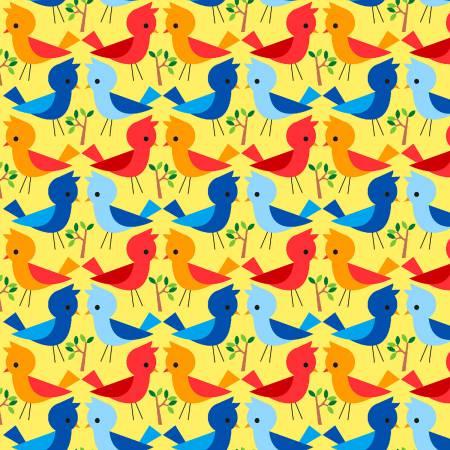 AE Nathan Comfy Flannel Prints Happy Folk Birds - Yellow (Minimum order 1m)