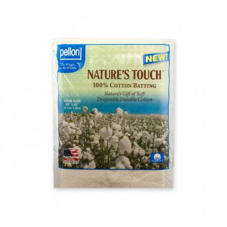 Pellon Natures Touch 100% Natural Cotton Batting w/Scrim Crib-Sized 45in x 60in