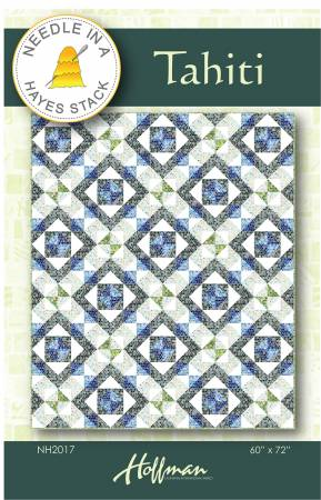 NH2017 Tahiti Quilt Pattern | Needle in a Hayes Stack with Mosaic fabric by Cheryl Lynch