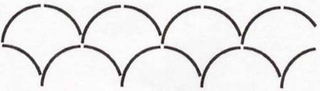 Quilt Stencil Clamshell Border 4 inch NS93