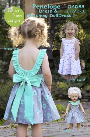 Olive Ann Designs - Penelope Dress and Matching 18 Doll Dress - Sizes 2-8 - OAD88