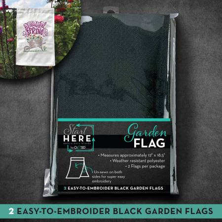 Embroidery Blank Garden Flag Black 12in x 18in 2pk
